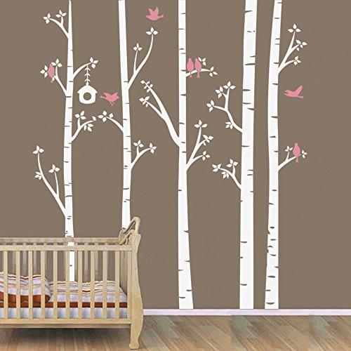 BATTOO Wandaufkleber mit Birkenbaum-Motiv, für Kinderzimmer, Wohnzimmer, Schlafzimmer, Kunst – Vögel im Birkenwald, 2,1 m, Weiß + Rosa