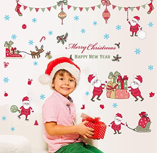 HUYHUY Bricolaje Feliz Navidad Pegatinas De Ventana Pegatinas De Vinilo Para Pared Santa Claus Vidrio Decoración Del Hogar Calcomanías Artísticas Papel Tapiz Decoraciones Para El Hogar
