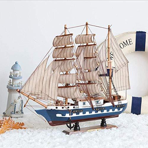 Barco de vela de madera de modelo, hecho a mano de madera