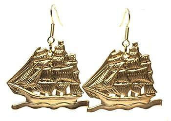 Tall Ships Brass Pressings 100% USA Made Artisan Gift Boxed Sailing Ships Cruise Earrings