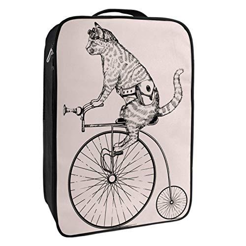 Caja de almacenamiento para zapatos de viaje y uso diario Punk Cat Riding A Bike Zapatero organizador portátil impermeable hasta 12 yardas con doble cremallera y 4 bolsillos