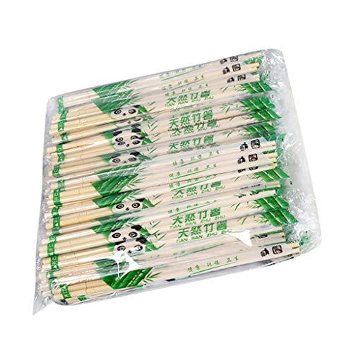 Ewendy 100 pares de palillos desechables de bambú natural, no tóxico para fiestas, acampadas o el hogar, uso diario