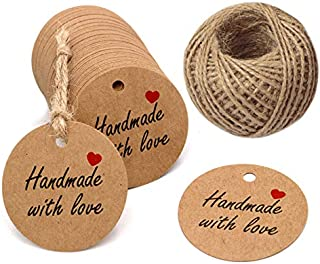 Handmade Gift Tags 2`` Round Tags 100PCS Brown Kraft Hang Tags with 100 Feet Natural Jute Twine Perfect for DIY&Craft, Wedding Party Favor and Birthday Party