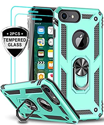 LeYi iPhone 8 Case, iPhone 7 Case, iPhone 6s/ 6 Case with Tempered Glass Screen Protector [2Pack], Military Grade Protective Phone Case with Ring Car Mount Kickstand for Apple iPhone 6/6s/7/8, Mint