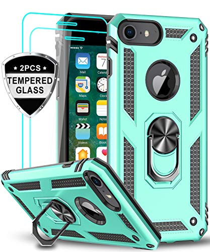 LeYi iPhone 6s/ 6 Case, iPhone 7 Case, iPhone 8 Case with Tempered Glass Screen Protector [2Pack], Military Grade Protective Phone Case with Ring Car Mount Kickstand for Apple iPhone 6/6s/7/8, Mint