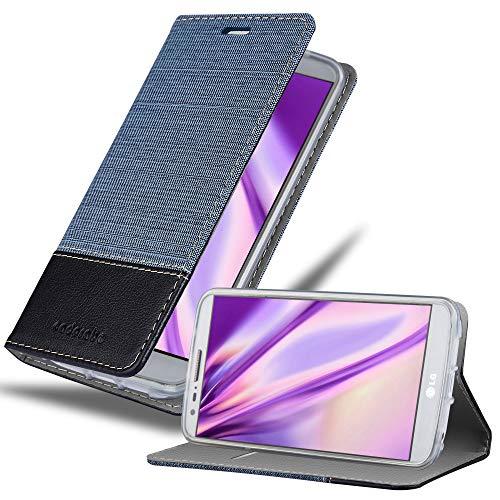 Cadorabo Hülle für LG G2 - Hülle in DUNKEL BLAU SCHWARZ – Handyhülle mit Standfunktion und Kartenfach im Stoff Design - Case Cover Schutzhülle Etui Tasche Book