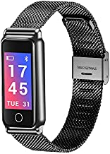 Waterproof Fitness Tracker Watch Heart Rate Monitor Blood Pressure Monitor, Fashion Activity Tracker Sport Pedometer Stainless Steel Bracelet Strap Smart Watch Wristband fit for Android iOS (Black)