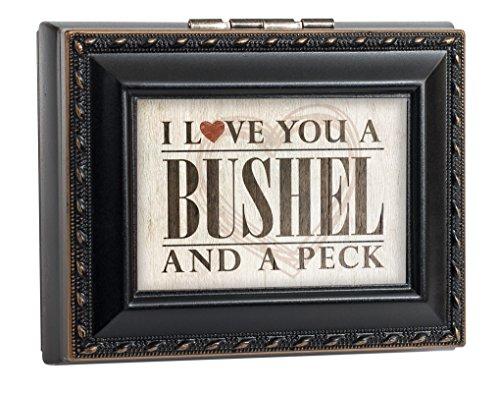 I love you a Bushel & A Peck schwarz mit gold Seil Rand Jewelry Andenken Box