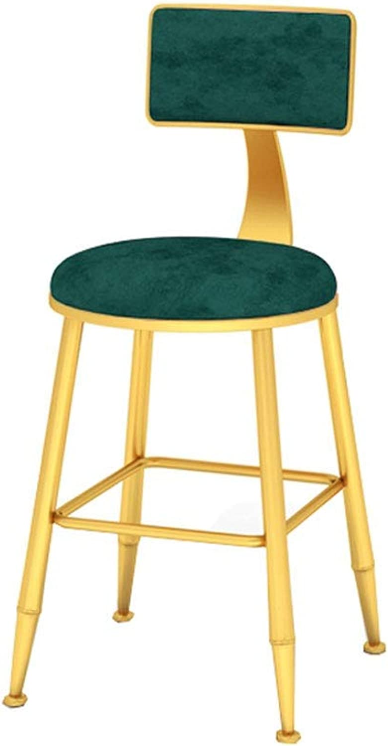 CYLQ Iron Bar Stool, High Back Bar Chair, Flannel Chair Metal Bracket, Simple Kitchen Breakfast Counter Height Leisure Footstool, 3 colors, 3 Sizes (color   Green, Size   45cm)