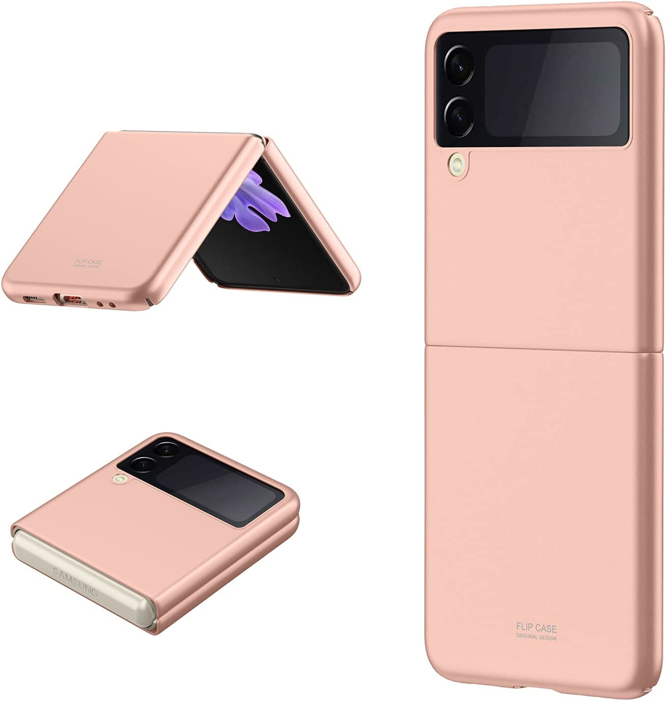 Galaxy Z Flip 3 Case, Back Cover Protector Case Skin Feel Matte PC Cover Compatible with Samsung Galaxy Z Flip 3 5G (Rose Gold)