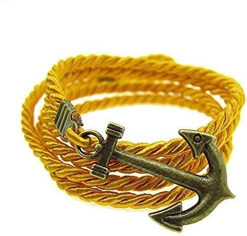 Outletissimo UA54 - Pulsera con colgante de ancla de bronce y oro para hombre y mujer, cordón
