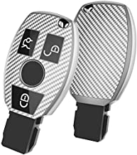 JVCV® Soft TPU Carbon Fiber Style Car Key Cover Compatible with Mercedes Benz Smart Key (Silver)