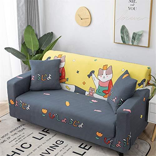 Oduo Moderno Funda de Sofa Universal Tela Elástica Impresión Ajustable JuegosdeSofás de 1 2 3 4 Plazas (2 Funda de Cojines) Antideslizante Muebles Protector (Gatito Fiesta,3 plazas)