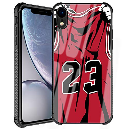 iPhone XR Case, 23 Number Red Basketball Jersey Design Slim Fit Tempered Glass Back Cover with Soft Silicone TPU Shockproof Bumper Protective Case for Apple iPhone XR 6.1 Inch - Basketball King