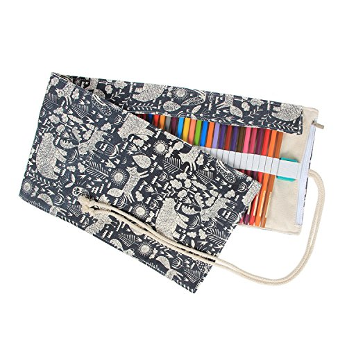 Damero 72 Canvas Colored Pencils Wrap, Roll up Pen Holder Case with Zipper Pouch for Accessories, Cute and Multi-purpose (NO Pencil included)