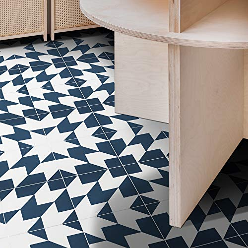 Moroccan Mosaic /& Tile House CTP53-02 Temara Handmade Cement Tile in Navy Blue and White