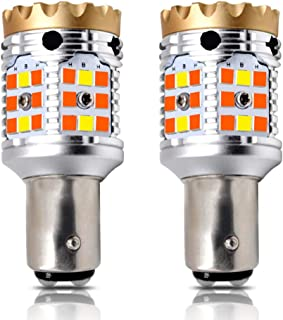 LASFIT CANBUS Anti Hyper Flash 1157 2057 7528 Dual Color Switchback LED Amber Turn Signal Light Blinker Bulbs, White Dayti...