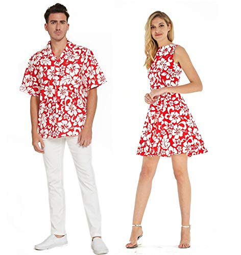 Couple Matching Hawaiian Luau Cruise Outfit Shirt Vintage Fit and Flare Dress Classic Vintage Hibiscus Red Men XL Women M