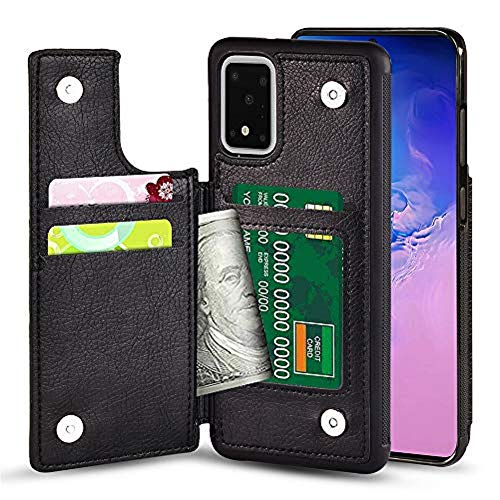 TGOOD Samsung Galaxy S20 Plus (6.7inch) 5G Wallet Case with Card Slot Holder Soft PU Leather Magnetic Closure Cover Anti-Scratch Shockproof Protective Phone Case-Black