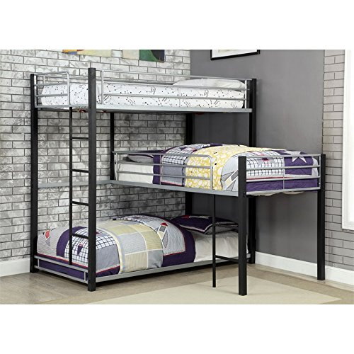 corner bunk bed amazon comfurniture of america turner modern triple twin bunk bed in sand black