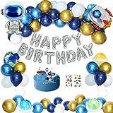Geburtstagsdeko Junge, Kindergeburtstag Deko Luftballons Weltraum Geburtstag Party Dekoration Kinder Astronauten Raketen Happy Birthday Folienballon