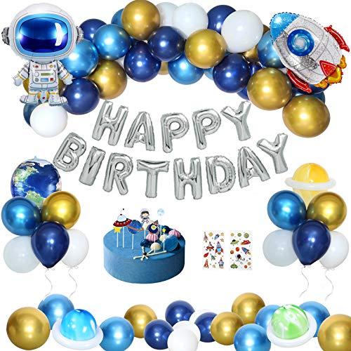 Decoracion Cumpleaños Niño, Temáticas del Espacio Exterior Globos de Cumpleaños Fiesta Cohete Astronauta Tierra Happy Birthday Globo Infantil Adornos