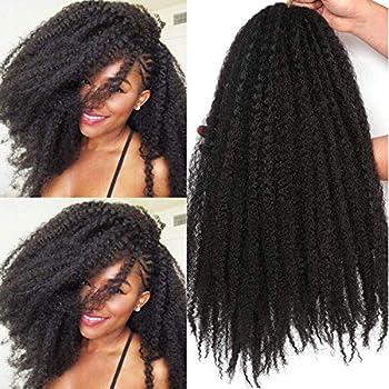 18 Inch Marley Twist Hair For Twists Cuabn Twist Hair Marley Braiding Hair 3 Packs Afro Kinky Curly Crochet Hair Marley Hair For Faux Locs Crochet Hair  18 Inch 3 Packs 1B#