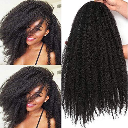 18 Inch Marley Twist Hair For Twists Cuabn Twist Hair Marley Braiding Hair 3 Packs Afro Kinky Curly Crochet Hair Marley Hair For Faux Locs Crochet Hair (18 Inch 3 Packs, 1B#)