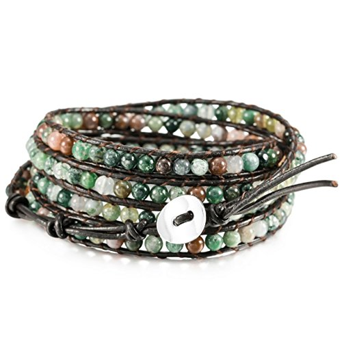 MOWOM Colorful Alloy Genuine Leather Bracelet Bangle Cuff Rope Simulated India Agate Bead 5 Wrap Adjustable