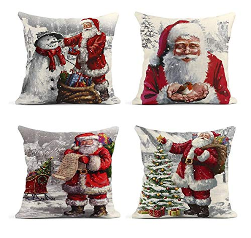 ArtSocket Set of 4 Linen Throw Pillow Covers Wakeu Santa Claus Snowman Merry Christmas Decorative Pillow Cases Home Decor Square 18x18 inches Pillowcases
