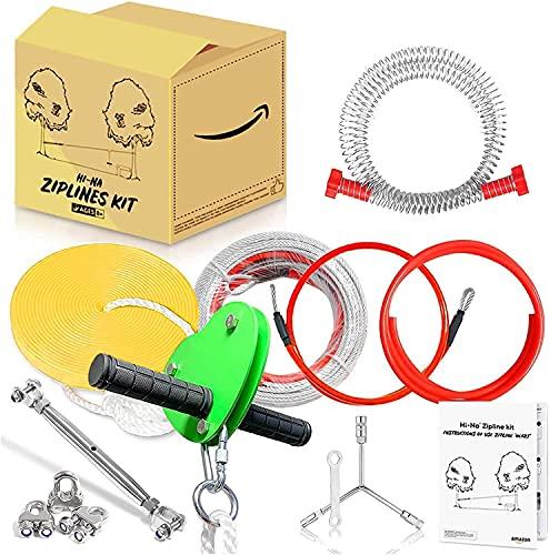 S SMAUTOP Zip Line Kit,Seilrutsche 24M, Heavy Duty Kabel & Federbremse, Trampolin für Kinder und Erwachsene bis 110kg