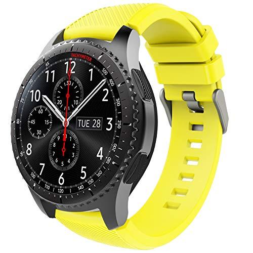 TiMOVO Correa de Reloj Compatible con Samsung Gear S3 Frontier/Galaxy Watch 3 45mm, Banda de Silicona Compatible con Huawei Watch GT2 Pro/GT 2e/GT 46mm/GT2 46mm/Ticwatch Pro 3 - Amarillo