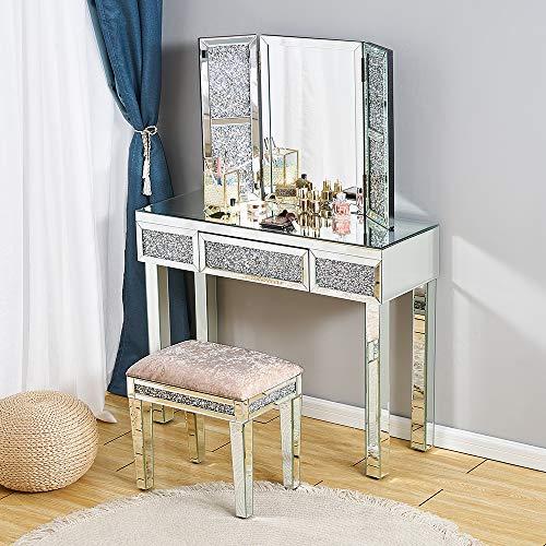 Juego de tocador con espejo y 1 cajón, con taburete acolchado y tres pliegues para el Reino Unido, Table+Mirror+Stool 3