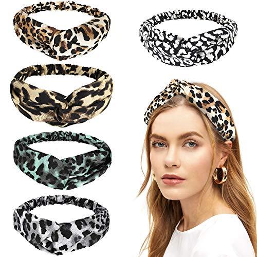 Luxspire [5 PZS] Diademas Mujer con Estampado de Leopardo, Diademas para Niñas Elástico Banda para el Cabello, Cinta para Frente