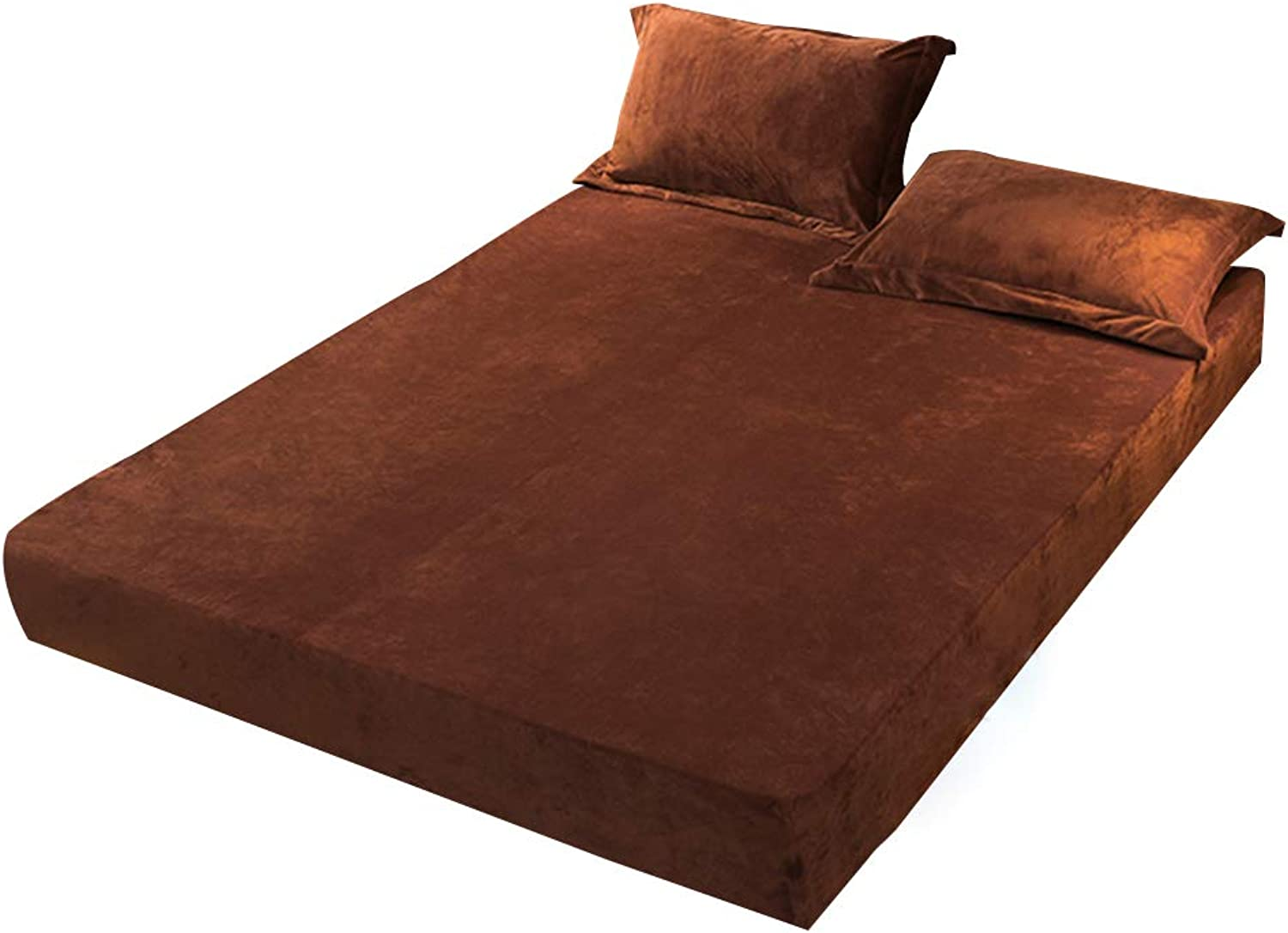 ZHAOHUI Mattress Predector Polyester Waterproof Breathable Keep Warm Soft Dust-Proof Antibacterial Comfortable, 3 colors, 6 Sizes (color   Brown, Size   200X220cm)