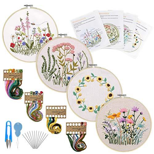 KSEFENCE Anfänger Stickerei Set 3 Stück Stickerei Starter Kit mit Blumen Muster und Anleitung für DIY Kunst Handwerk Nähen