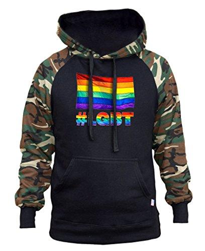 Men's Rainbow Flag #LGBT Black/Camo Raglan Baseball Hoodie Large Black