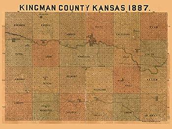 Kingman County Kansas 1887 - Old Wall Map - Reprint - Landowner Names - Genealogy