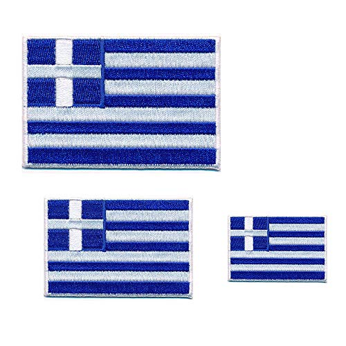 3 Griechenland Flaggen Athen Greece Flags Patch Aufnäher Aufbügler 0647