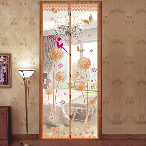 Magnetic Fly Insect deurrooster 90 x 210 cm mesh gordijn muggennet paardenbloem en fairy Magic Paste gordijnen Super Quiet Stripes encryptie voor anti-muggen bruin