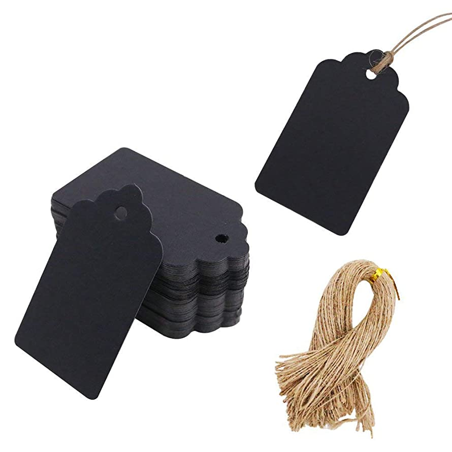 100pcs Black Paper Gift Tags with Free 100 Root Natural Jute Twine(Water Ripple)