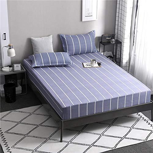 HPPSLT Protector de colchón de Rizo algodón y Transpirable Sábana de Cama de algodón Aloe Simple antideslizante-11_150 * 200cm