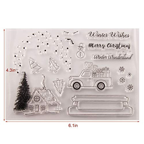 Christmas Tree House Truck Snowman Snow Lights Clear Rubber Stamps for Card Making and Scrapbooking Merry Christmas Wishes Silicone Stamps (T1617)