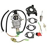 HURI Carburetor with Gasket Spark Plug Fuel Joint Filter for Honeywell HW5500 HW5000E HW6200 100924A 100925A 6036 6037 6151 5500 6875W 337cc 389cc Generator