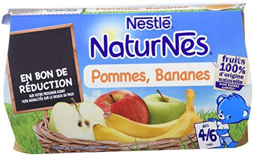 NESTLE NATURNES Compotes Bébé Pommes Bananes -Lot de 3 (4 pots x 3 lot) -Dès 4/6 mois