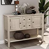 P PURLOVE Console Table Sideboard with Storage Drawers Cabinets and Bottom Shelf (Antique Gray)