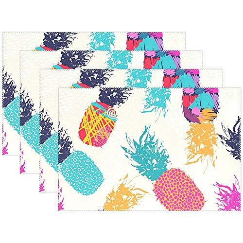 Sunnee-shop Tropische planten ananas bloemen aquarel bord placemats placemats placemats placemats placemats placemats 12 x 18 inch