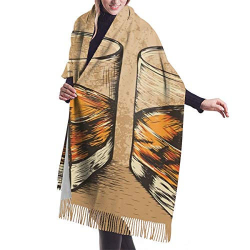 Women's Fall Classic Winter Scarf,Two Whiskey Glasses,Scarf Warm Soft Chunky Large Blanket Wrap Shawl Scarves