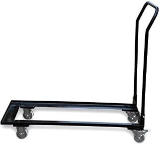 Black Folding Chair Cart Rolling Push Dolly, Commercial Grade Steel Frame, Storage Capacity 50 Chairs