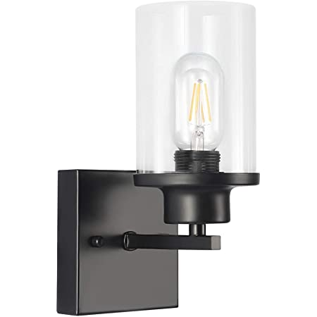 1-Light Bathroom Black Vanity Light | Matte Black Wall Sconce Vintage with Clear Glass Shade, Hallway Light Fixture Sconces Wall Lighting